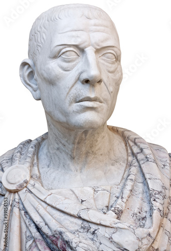 Ancient statue of Julius Caesar isolated on white