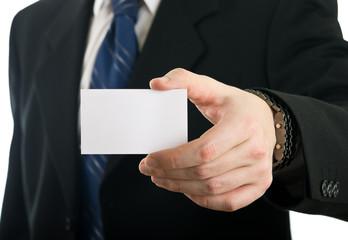 Businessman showing blank visit card