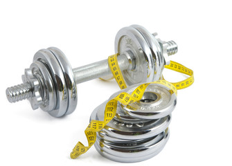 dumbbell with a measuring tape