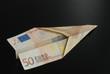 Euro, Geld, Banknote, Papierflieger, Flugzeug, Kosten