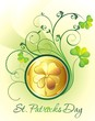 St. Patrick's Day frame with clover and golden coins