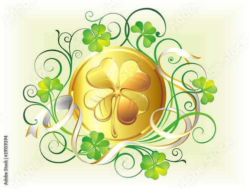 St. Patrick's Day card with golden coins