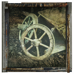 old cart wheels print