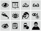 Optometry icons set.