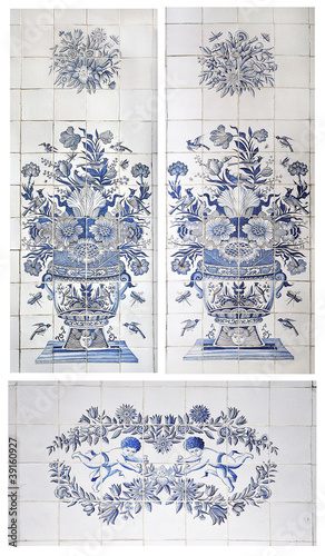 tiles with angels, flower vases, insects and birds