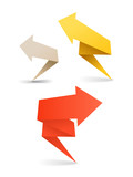 Colorful polygonal origami arrow banners poster