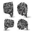 Black Vector talk bubbles of letters from newspaper