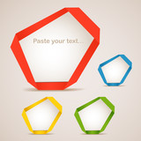 Colorful polygonal origami clouds. Place your text here poster
