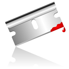 Bloody steel blade over white background