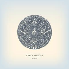 Engraving vintage Maya calendar illustration.