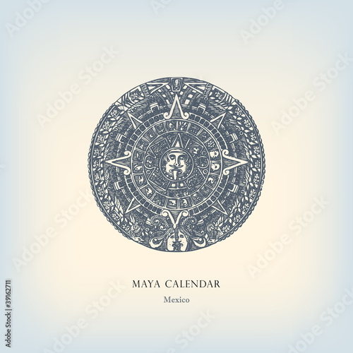 Engraving vintage Maya calendar illustration.