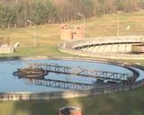 Waterworks sewage treatment plant. Sludge settling tanks poster