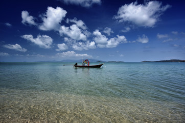 Thailand, Koh Phangan, local wooden fishing boat