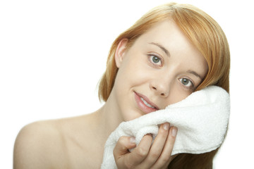 young redhead woman with towel
