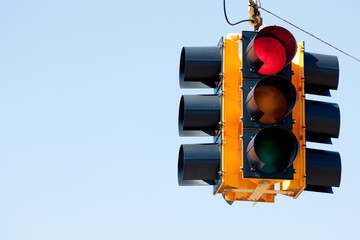 Red light traffic signal with copy space