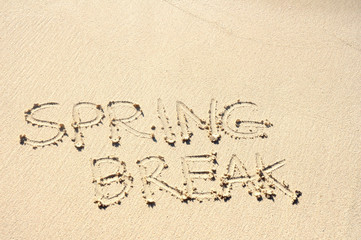 Spring Break Written in Sand on Beach