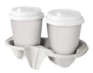 Two White Paper Cup