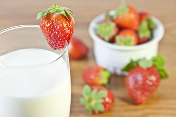Strawberries and a Glass of Milk