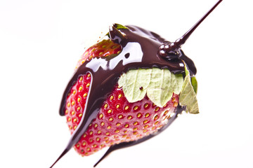 Chocolate Poured onto Strawberry