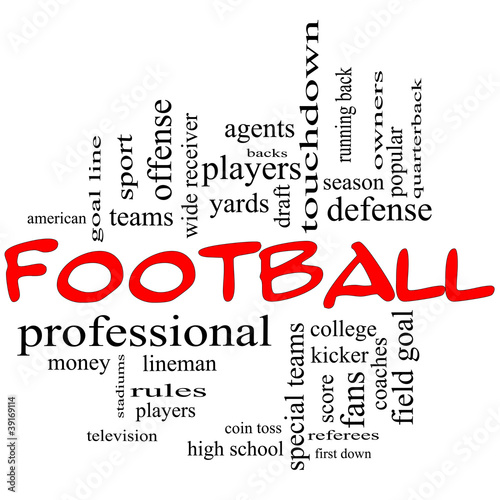 Football Word Cloud Concept in red caps