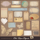 Fototapety digital scrapbooking kit: aged paper objects (2)