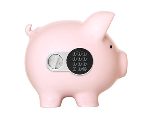 Pink piggy bank with safe