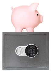 Pink piggy bank with safe