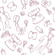 Graphic baby girl seamless pattern