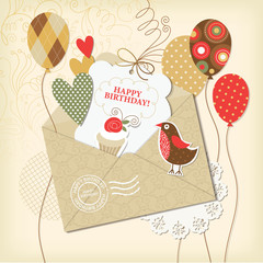 Birthday card, scrapbooking elements, 10 eps