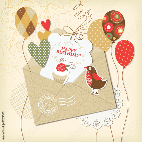Birthday card, scrapbooking elements, 10 eps