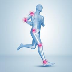 Laufender Mann Silhouette mit Skelett und Gelenkschmerzen