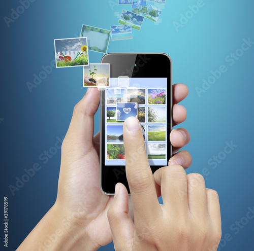 Touch screen mobile phone with blue background
