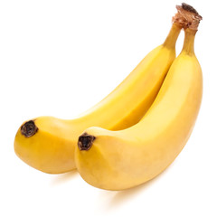 Two yellow Bananas ripe Isolated Located cascade on White