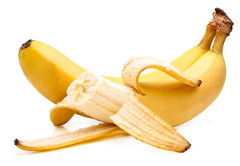 Bitten off yellow bananas ripe Isolated Located cascade on White