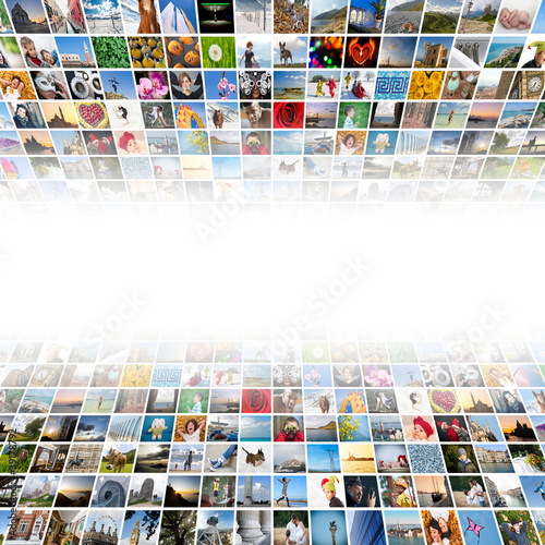 Abstract multimedia background made by different images.
