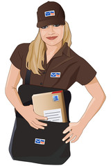 Postfrau, Briefträger, Zuställer, Postman, Mailman, Woman