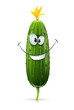 smiling green cucumber vector illustration isolated on white