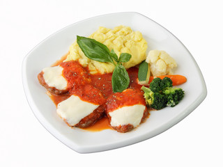 Veal with tomato and cheese