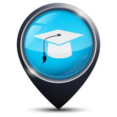 Symbole glossy vectoriel université / diplômé