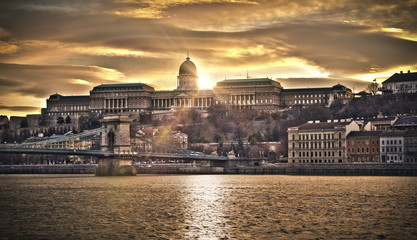 Szechenyi Chain Bridge and Royal Palace, HDR