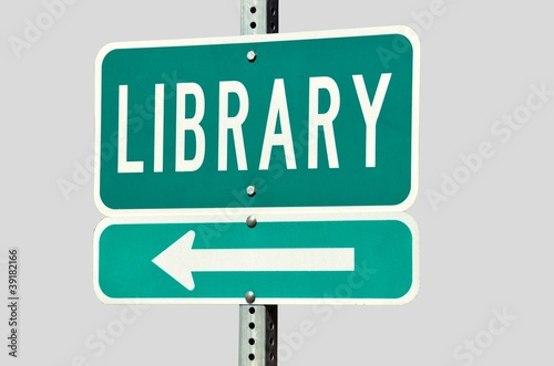 Isolated Public Library road sign