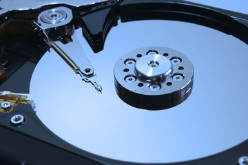 Close up of opened HDD