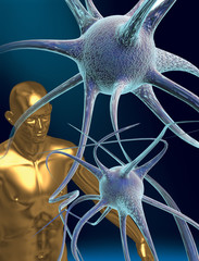 neurons and a human figure