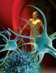 neuron and a human figure