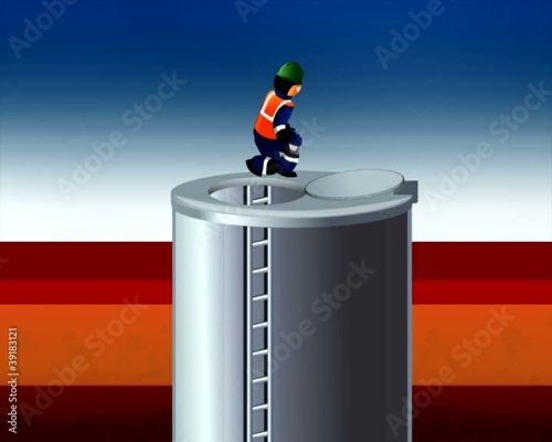 worker climbs into the tank with gas analyzer