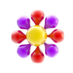 Abstract glossy flower icon isolated