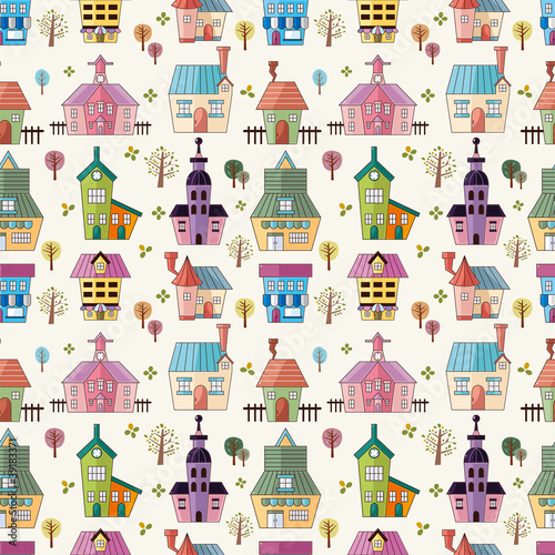 Tuinposter Op straat seamless house pattern