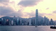 Hong Kong skyline at sunset. time lapse