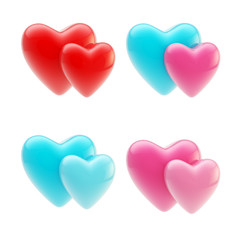 Set of glossy heart icons isolated on white
