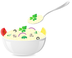 italian rice with vegetables vector illustration